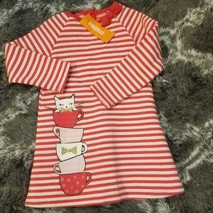 New Gymboree girls striped ls kitty dress